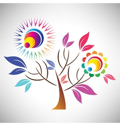 Beautiful abstract coloful tree with sun vector image vector image