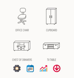 Cupboard tv table and office chair icons vector