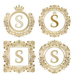 golden letter s vintage monograms set heraldic vector image vector image