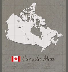 vintage canada map paper card map silhouette vector image