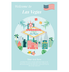 Welcome to las vegas poster with landmarks vector