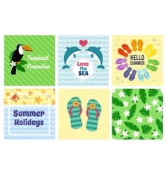Collection of summer decorative cards vector image vector image
