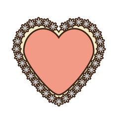 romantic heart flower ribbon decoration vector image