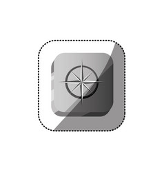 sticker color square button 3d with compass rose vector image