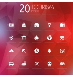 Tourism icons on blurred background vector image vector image