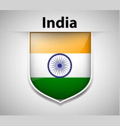 Flag on india on badge vector