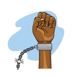 hands fist up with chain to celebrate special day vector image vector image