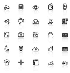 Hitechnology line icons with reflect on white vector image