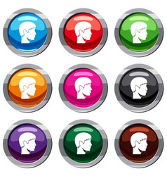 man head set 9 collection vector image