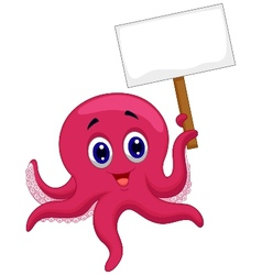 Octopus cartoon holding blank sign vector image vector image