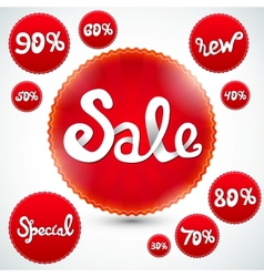 Red Discount Signs vector image vector image