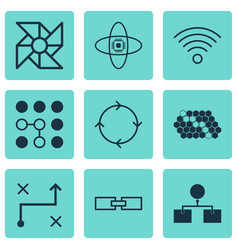 Set of 9 machine learning icons includes solution vector