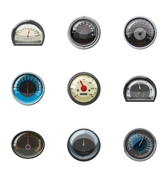 Speed measurement icons set cartoon style vector image