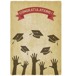 students throw graduation caps vector image vector image