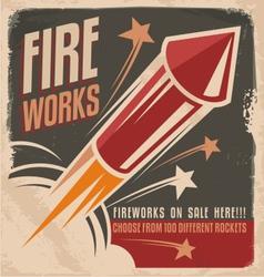 Vintage fireworks poster design vector image vector image