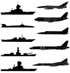 a set of military aircraft ships and submarines vector image vector image