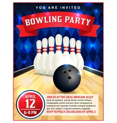 Bowling party flyer vector