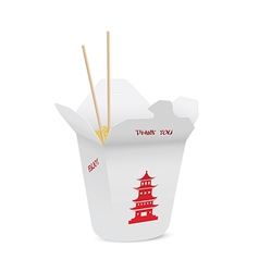 Chinese restaurant opened take out box vector