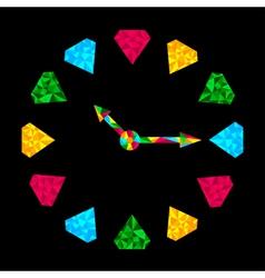 Colorful diamond clock vector image
