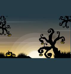 Halloween scenery with tree and pumpkin vector