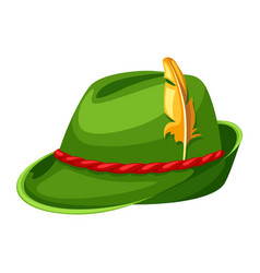 hunting hat with feather and rope vector image