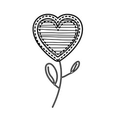 silhouette heart flower shape with lines pattern vector image vector image