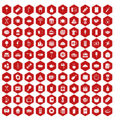 100 cafe icons hexagon red vector