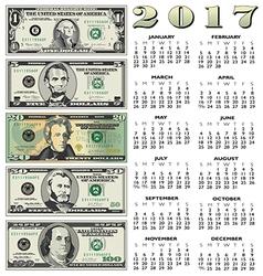 2017 financial calendar vector image