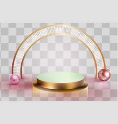 3d minimal luxury podium golden display scene vector