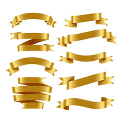 3d realistic golden ribbons set vector image