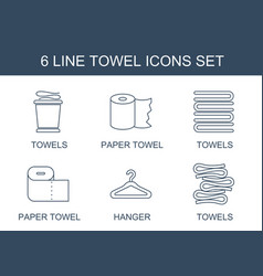 6 towel icons vector