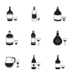 Alcohol set icons in black style big collection vector