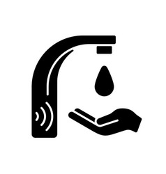 Automatic water tap black glyph icon vector