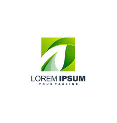 awesome gradient leaf logo design vector image