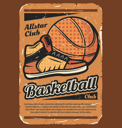 basketball team sport poster with ball vector image