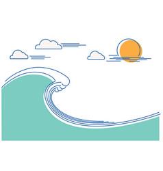 big ocean wave flat line color vector image