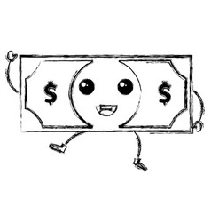 Bill dollar money kawaii character vector