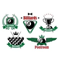 Billiards icons with game items vector image