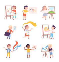 boys and girls painting on canvas set kids vector image