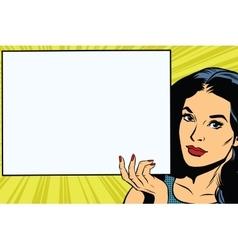 Brunette girl holding a blank rectangular poster vector image