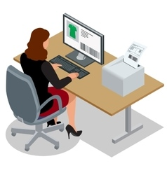 Business woman looking at the laptop screen vector