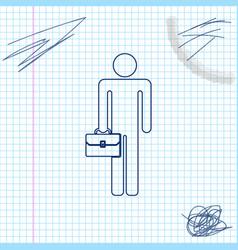Businessman man with briefcase line sketch icon vector