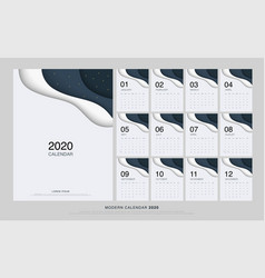 calendar 2020 trendy gradients origami style set vector image