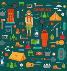 camping hiking and fishing seamless pattern vector image