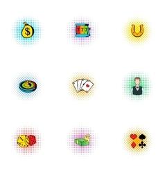 Casino icons set pop-art style vector