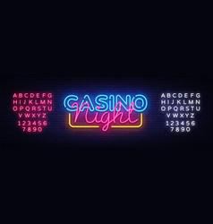 casino night neon sign design template vector image