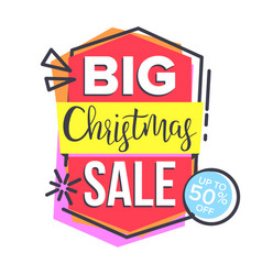 christmas sale sticker shopping concept vector image