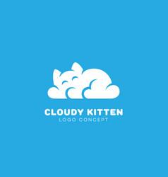 Cloudy kitten logo vector