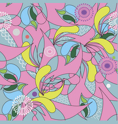 colorful abstract floral paisley seamless vector image