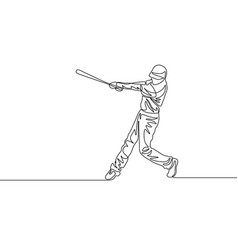 continuous one line baseball player batter hit the vector image